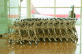 Close up view of trolleys luggage Royalty Free Stock Photo