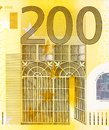 Close up view from two hundred euros bill. Royalty Free Stock Photo