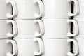 Close up view of white coffee mug columns Royalty Free Stock Photo