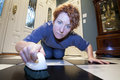 Close up view woman scrubbing floors her hands knees Stock Photo