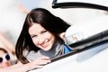 Close up view of woman in the white car Royalty Free Stock Photo
