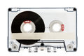 Close up of vintage audio cassette tape, isolated on white Royalty Free Stock Photo