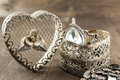 Close up of vintage heart shape jewelry box Royalty Free Stock Photo