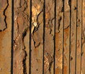 Close up of vintage metal fence braked and demaged by rust Stock Image