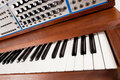 Close-up of vintage synthesizer keyboard Stock Images