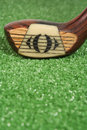 Close up of a vintage three wood golf club at address Royalty Free Stock Photo
