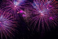 Close-up of vivid purple fireworks with sparks. Explosive pyrotechnic devices for aesthetic and entertainment purposes Royalty Free Stock Photo