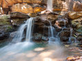 Close up waterfalls photo of flowing Royalty Free Stock Photography