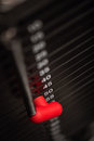 Close up of a weight stack on gym apparatus Royalty Free Stock Photo