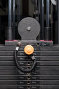 Close-up of weight steel stack in a fitness club Royalty Free Stock Photo