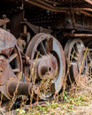 Close up wheels on abandoned stream powered locomotive virginia museum of transportation Royalty Free Stock Photo