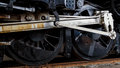 Close up wheels on stream powered locomotive virginia museum of transportation Royalty Free Stock Images