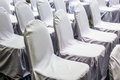 Close up white chairs set up line for seminar Royalty Free Stock Photo