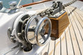 Close-up of winch on yacht Royalty Free Stock Photo