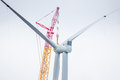 Close up of a Wind Turbine in the process of being built Royalty Free Stock Photo