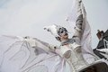 Close up of winged woman who is part of the street theater group close act hoogeveen netherlands august hoogeveen netherlands Royalty Free Stock Images