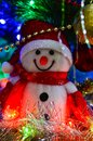 Close-up of a winter white toy snowman with Christmas tinsel in the background