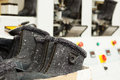 Close up of winterized boots for workers gray Stock Photography
