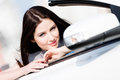 Close up of woman in the auto smiley car Stock Photos