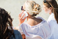 Close up of woman calling by smartphone on beach Royalty Free Stock Photo