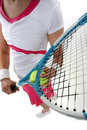 Close-up of woman holding  racquet Stock Photo