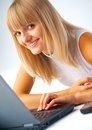 Close-up of a woman with laptop Royalty Free Stock Photography