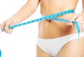 Close up on woman measuring her waist Royalty Free Stock Photo