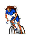 Close up of woman is riding a bicycle Stock Images