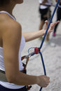 Close up of woman s hand in belaying activities as she belay her friends rock climbing activity Royalty Free Stock Photography