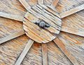 Close Up of Wooden Cart Wheel Stock Photo