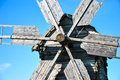 Close-up of wooden details of traditional ukrainian windmill at museum of Ukrainian folk architecture in Pirogovo village, Kiev Royalty Free Stock Photo