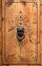 Close-up of wooden door with Aragon patterns. Royalty Free Stock Images