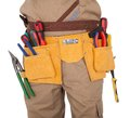 Close-up on worker's toolbelt Royalty Free Stock Photo