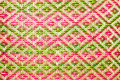 Close up woven bamboo pattern handbags and basketry passing on the community indentity Royalty Free Stock Photo
