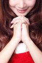 Close up of Xmas girl praying Royalty Free Stock Photography