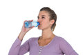 Close-up of young beautiful woman drinking water Royalty Free Stock Photo