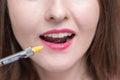 Close-up of young woman at dental visit