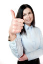 Close up young woman showing thumbs up Stock Image