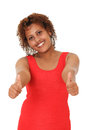 Close up of a young woman showing thumbs up isolated Stock Images