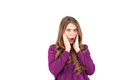 stock image of  Close up of young woman who is shocked, surprised and astonished. Human facial expressions and emotions. White background.