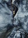 Close-up zipper open on blue jeans, denim texture, zipper jeans pants Royalty Free Stock Photo