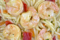 Close view of angel hair pasta with shrimp Royalty Free Stock Photo