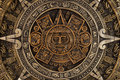 Close view of the aztec calendar Royalty Free Stock Photo