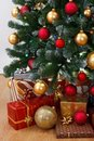 Close view of decorated Christmas tree Royalty Free Stock Photo