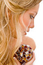 Close view of glamorous model with christal ball Royalty Free Stock Images
