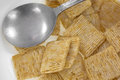 Close view of leftover cereal in bowl with spoon a breakfast the bottom a a Stock Photography