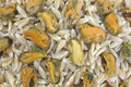 Close view marinated mussels on orzo Royalty Free Stock Photo