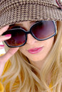 Close view of model wearing sunglasses Royalty Free Stock Images