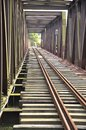 The close view of railroad track on iron bridge Stock Photography