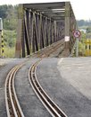 The close view of railroad track on iron bridge Royalty Free Stock Image
